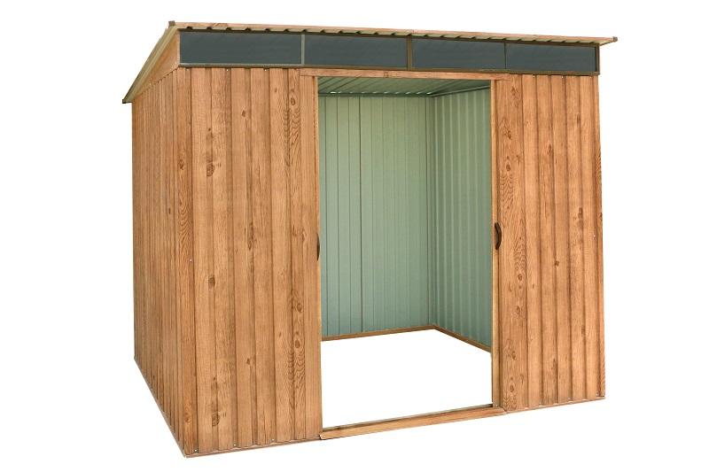 Pent Roof 8x6 Woodgrain w/ Skylight